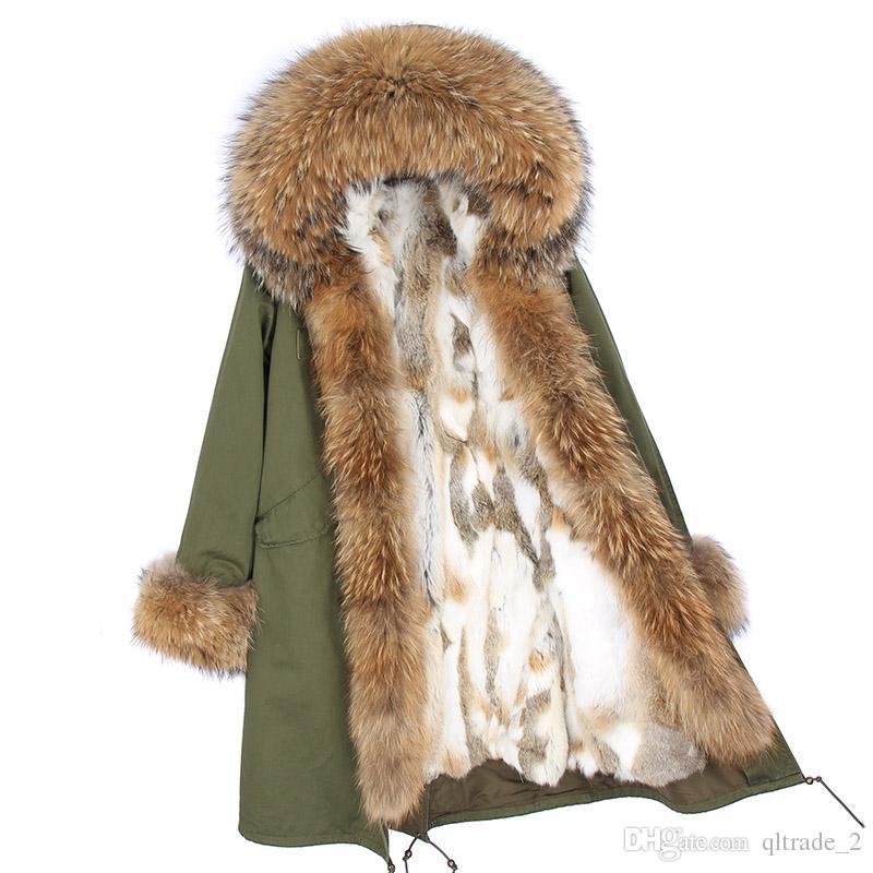 Pelliccia di procione marrone Pelliccia Soglia donna snow cappotti polsini marrone bianco volpe e pelliccia di coniglio fodera verde militare X-Long parka