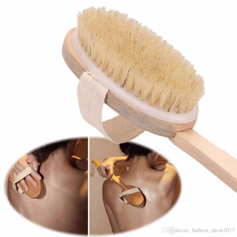 1 Stück Natur Eber-Borste-Holzbürste Stiel Massage Badewanne Dusche Zurück Spa Körperbürsten-Haut-Badebürste