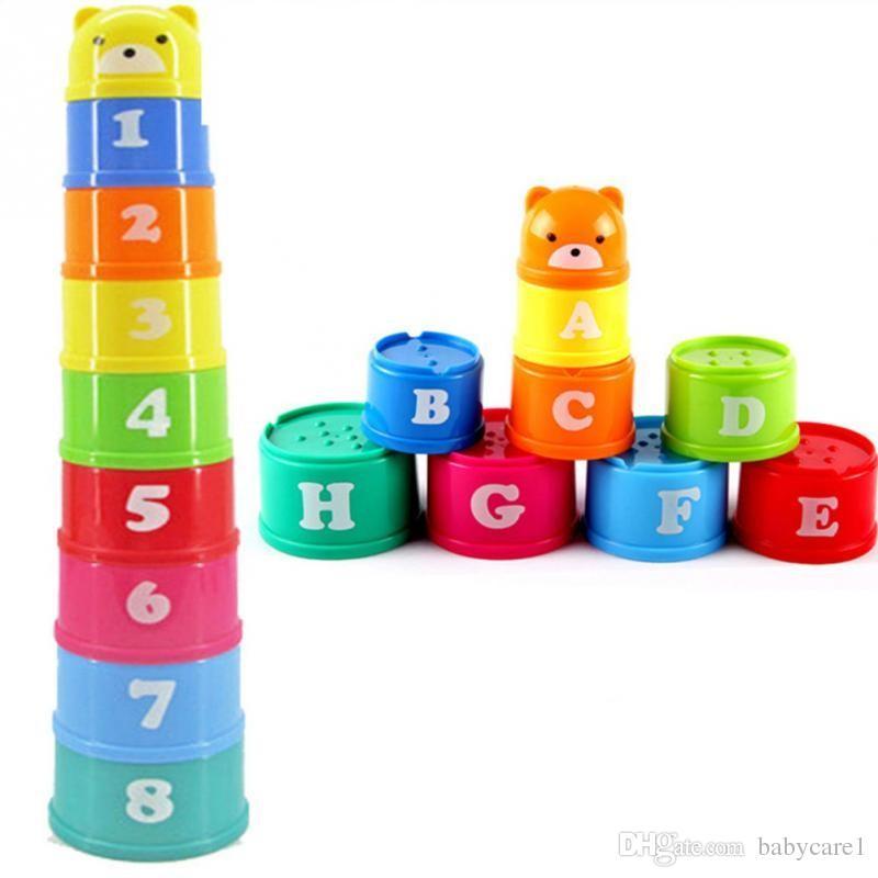 Weihnachtsgeschenk 9 Teile / satz Ausgezeichnete Baby Kinder Kinder Pädagogisches Spielzeug Neue gebäude Puzzles Figures Letters Folding Cup Pagoda