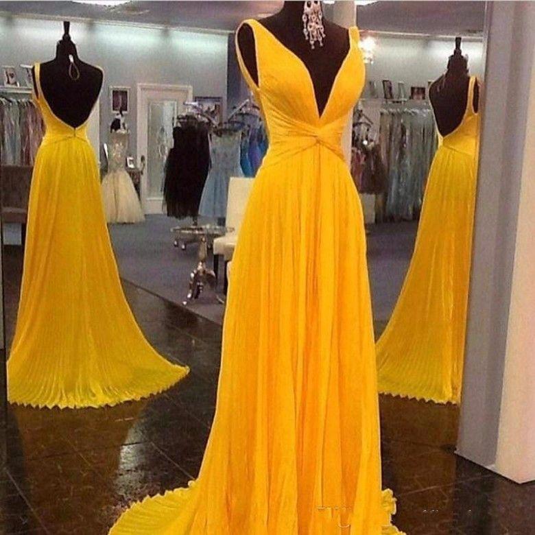Elehant темно-желтые вечерние платья длинные сексуальные V шеи линия шифон платье выпускного вечера с открытой спиной 2018 дешевые платья партии