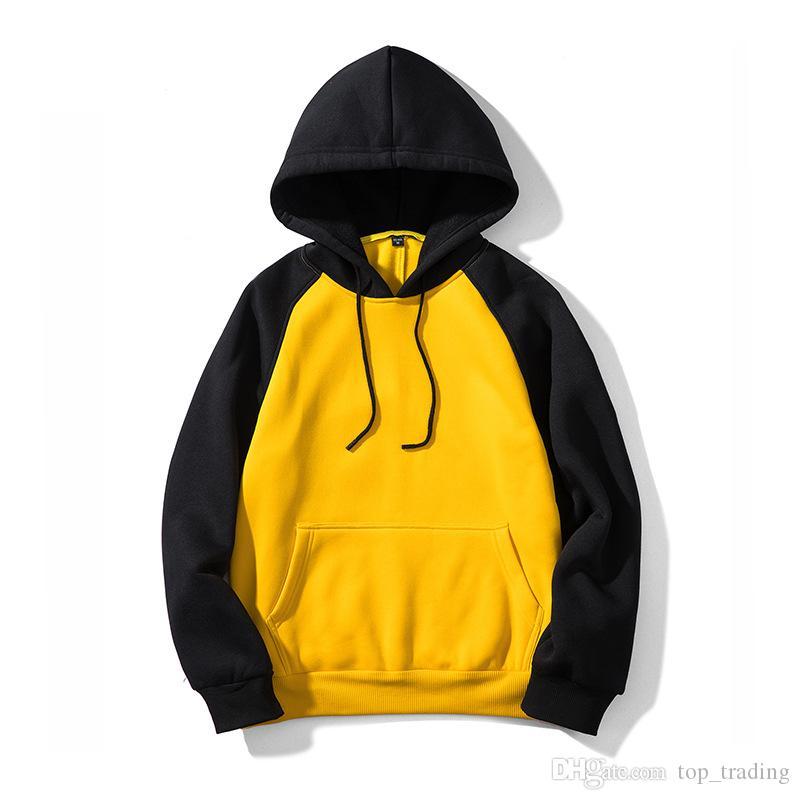 Casual Men Hoodies EU size Fleece Sweatshirts Pullover Streetwear Mens Sportwear hip hop Patchwork Hooded Jogger WY39