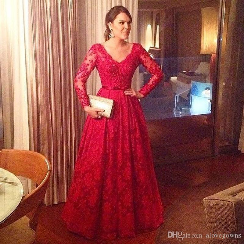 Abiti da sera maniche lunghe rosse eleganti abiti da ballo in pizzo abiti da cerimonia formale plus size robe de soire vestido de festa celebrità abiti da festa