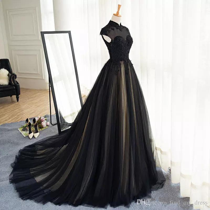 Black and Champage Short Sleeve High Neck A Line Wedding Dress Gothic Modest Muslim Lace Bridal Gowns Custom Made Appliques Tulle 2019