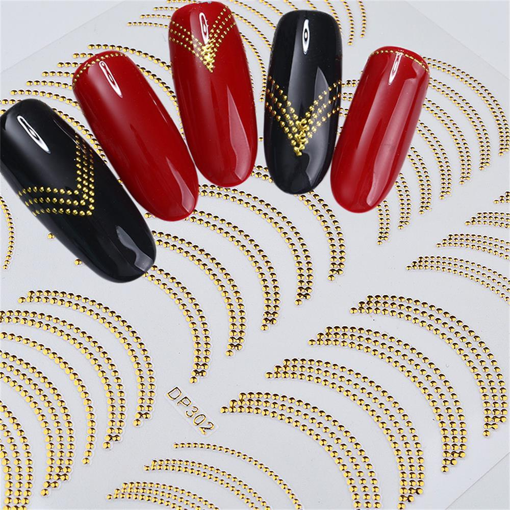 1 Sheet 3D DIY Nail Art Stripes Decals Sticker Gold Rivert Metal Adhesive Nail Sticker Decals Wave Line Manicure Decor Tools