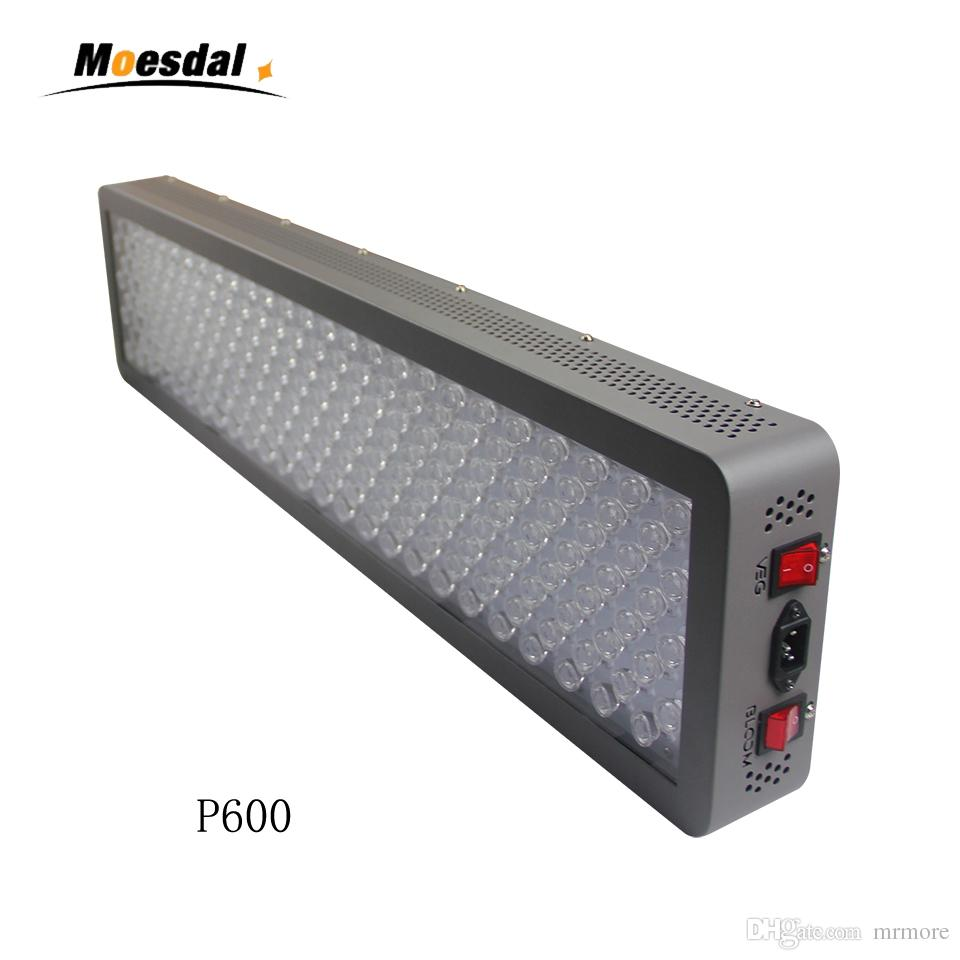 Медицинский светильник для растений P600W LED Grow Light 12-полосный полный спектр для комнатных растений Контроль овощей и цветов с оптическим стеклянным объективом