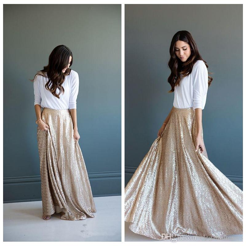 2018 Cheap Champagne Sequins Maxi Prom Dresses Gorgeous A-line Long Skirt Glittering Winter Skirts for Women Heavy Top Quality Skirt Pleated