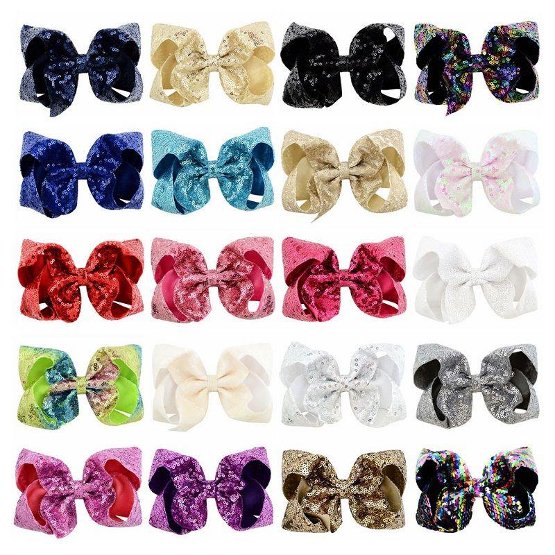 20Pcs Girls 6 Inch Sequin Hair Bows With Clips Bling Shining Hairpins Hair Clip Barrettes Hairpin Headwear Beautiful HuiLin C199
