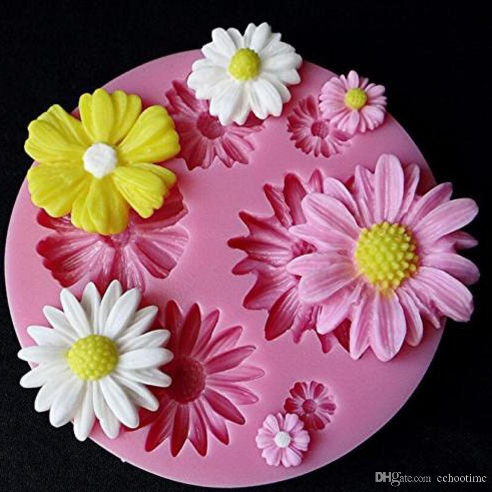 500 ADET Silikon Kalıp Küçük Papatya Şeker Craft DIY Gumpaste Kek Dekorasyon Kil Dekorasyon Araçları Ayçiçeği Pişirme Kalıpları Ücretsiz Kargo