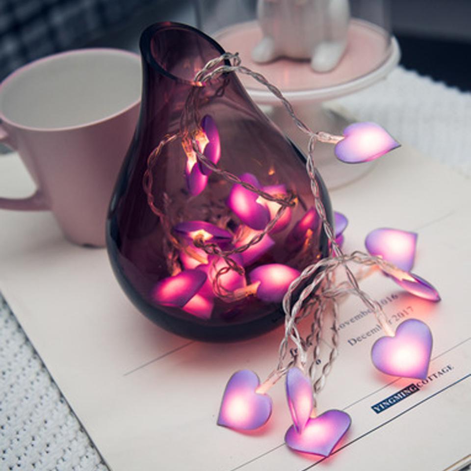 Pink LED Fairy Lights Love Heart 10 / 20LEDs Linterna Navidad Cadena Luces Iluminación de vacaciones Dormitorio Inicio luces led decoracion
