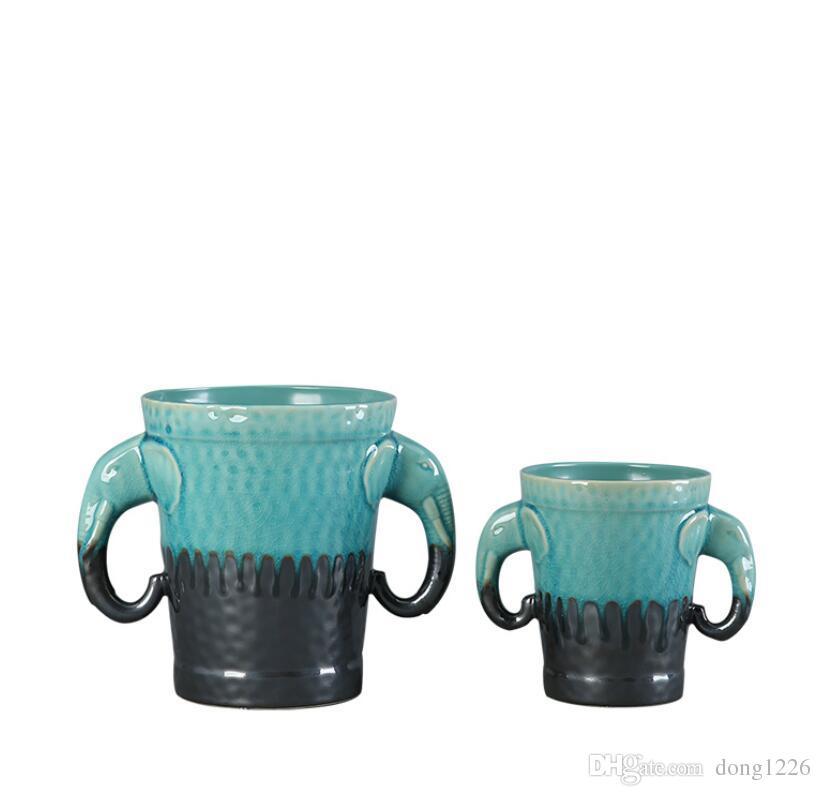 Mediterrane Keramik kreative Elefanten Blumen Vase Wohnkultur Handwerk Zimmer Dekoration Figuren Esstisch Vintage Vase Geschenke