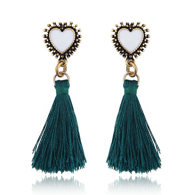 2021 Brincos Enamel Heart Shaped studs For Women Vintage Korean Long Tassel Earrings Earings Fashion Jewelry Wholesale