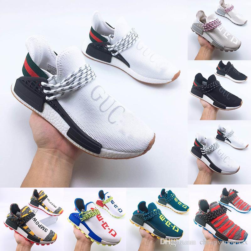 Alta Qualità Nuovo Hu Pharrell Williams NERD PW Homecoming Pacchetto Solare Uomini Donne Scarpe Da Corsa Autentica Bianco Blu Outdoor Sneaker taglia 36-47