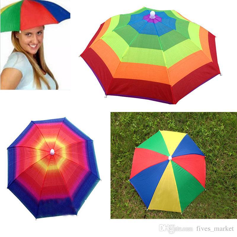 3Colors Foldable Sun Rainbow Umbrella Hat For Adult Children Adjustable Headband Hat Umbrella Hiking Fishing Outdoor Kit ZJ-U01
