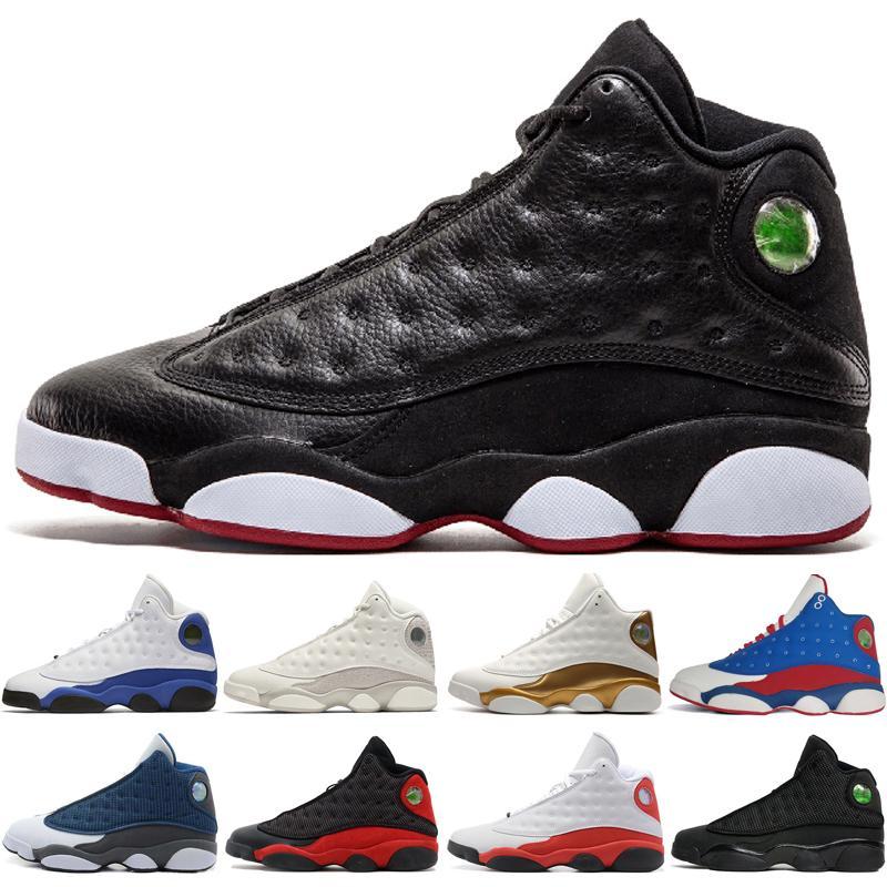 2019 13 13s Shoes Mens Basketball Fantasma Chicago GS Hiper reais Flints gato preto produzido Brown trigo Marfim DMP homens esportes tênis # 1