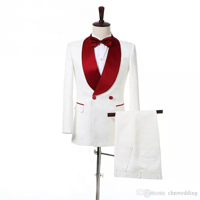 Custom Slim Fit Men Suits 2018 Wedding Tuxedos Groom Prom Wear Red Shawl Lapel Best Man Blazer(Jacket +Pants)