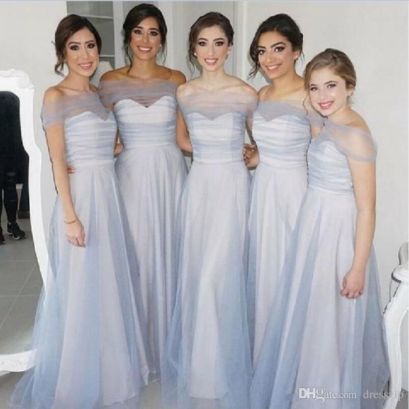 Light Blue Off Shoulder Bridesmaid Dresses For Wedding A Line Maid Of Honor Gowns Tulle Cover Shoulder Prom Dress Cheap
