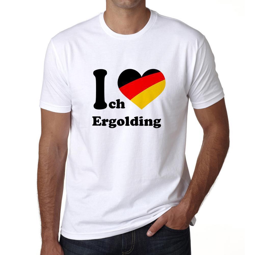 J'aime Ergolding, Homme T-shirt, Herren T-shirt, Blanc, Cadeau