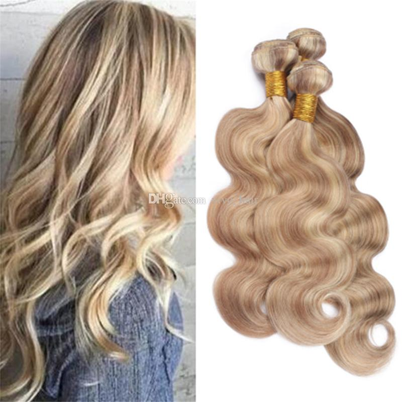 27 Honey Blonde Highlights 613 Blonde Piano Human Hair Bundles Light Brown Blonde Mixed Color Brazilian Body Wave Virgin Hair Weave Hair Weft