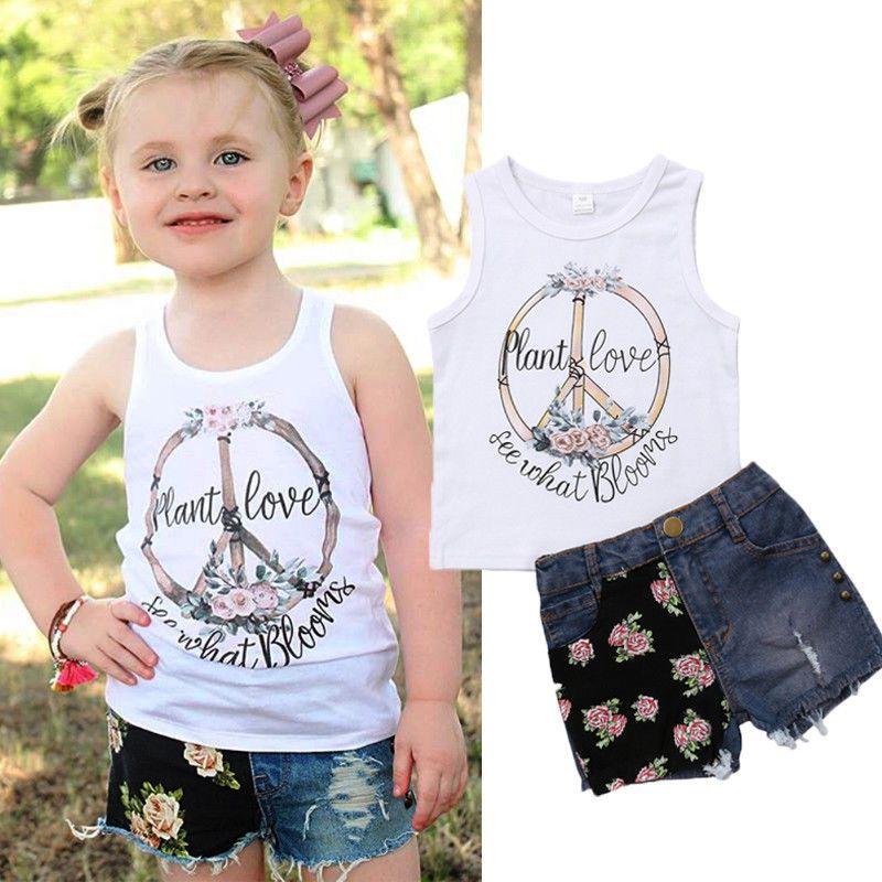 여름 아이 소녀 옷 꽃 흰색 조끼 청바지 반바지 2 개 세트 의상 아이 캐주얼 옷 달콤한 여자 해바라기 부티크 의상 옷