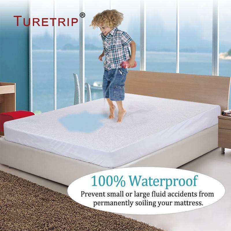 Turetrip Pamuk Terry Su geçirmez Yatak Örtüsü Gömme Sac Stili Toz Akarlar Yatak Koruyucu İçin Köpük Kapak Yatak