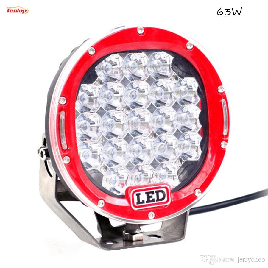 7 Inch Black Red Blue Yellow Shell 63W Round LED Front Bumper Grille Headlight For Offroad Wrangler ATV SUV Hilux 12V 24V