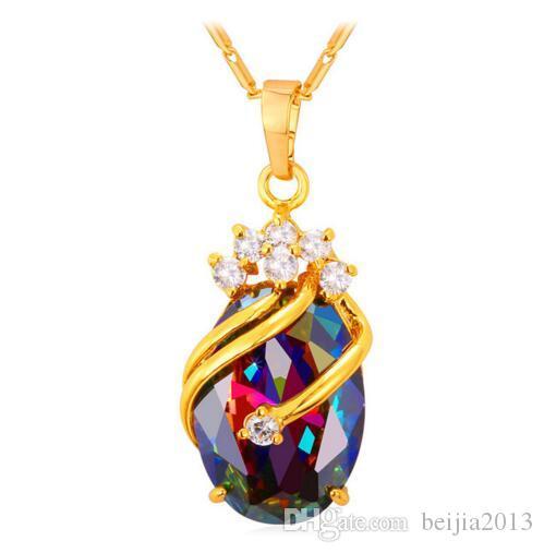 Colgante de cristal Cubic Zircon Color de oro Fiesta de moda Regalo de boda Para Las Mujeres Joyería Ramas Collares P794