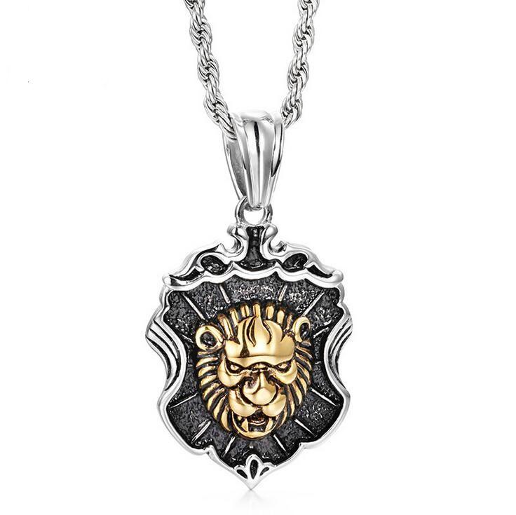 Hiphop Cor de Ouro Cabeça de Leão Pingente de Colares de Aço Inoxidável dos homens Leão Animal Com Escudo Pingente de Colar Homme Rock Jóias
