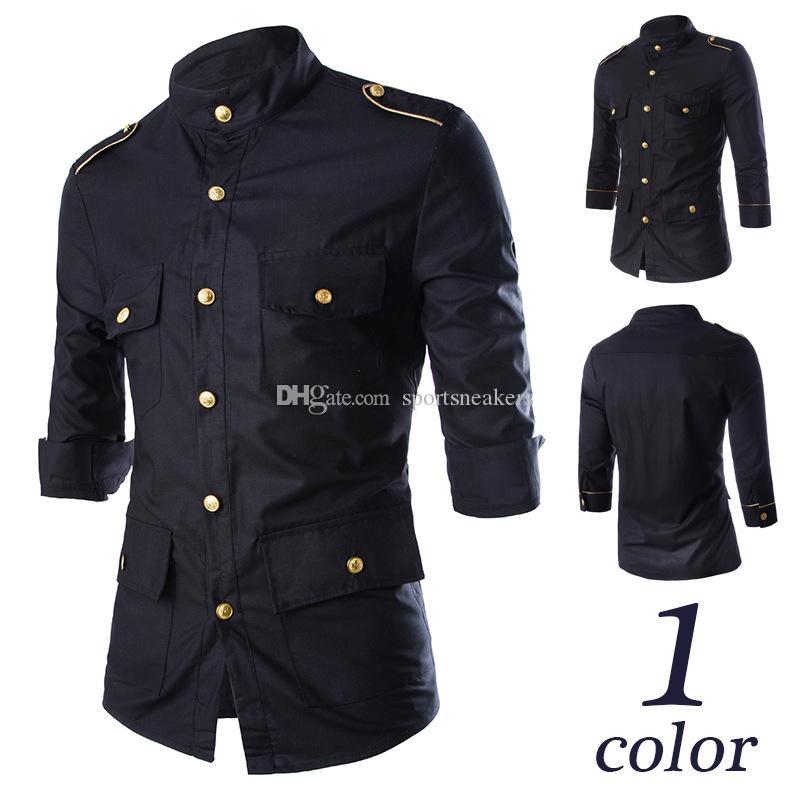Insignes dorés de l'air naval de ventes chaudes décoré noir mâle coréen Slim Sleeve Shirt C04 manches sept points