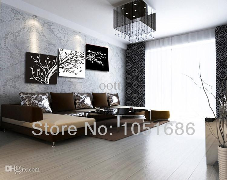 Hand Painting Flower Oil Painting Modern Black White Canvas Wall Art 3 Pieces Pictures Decor For Home