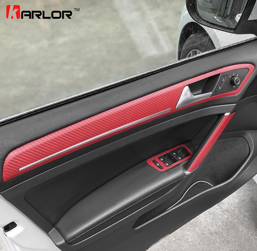 Toptan Kapı Kolu Trim Topuzu Pencere Anahtarı Paneli Volkswagen VW Golf 7 MK7 Için Karbon Fiber Film Sticker Çıkartma Araba Styling Aksesuarları