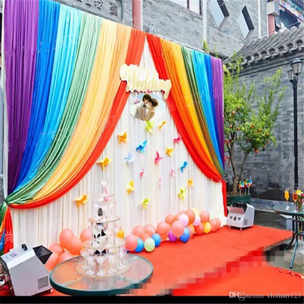 3m 6m Rainbow Wedding Backdrop With Swags Backcloth Party Curtain Celebration Stage Background Satin Drape Wall Valance Beach Themed Wedding