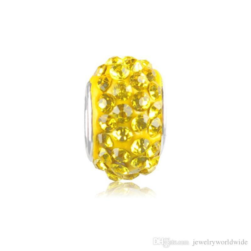 Yellow Alloy Space Charm Bead Full With Crystal Rhinestone Big Hole Fashion Women Jewelry European Style For Pandora Bracelet