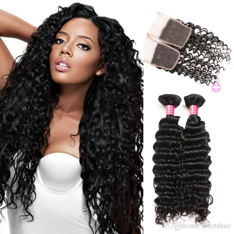 Mink Hair Virgin Brazilian Deep Wave 3 Bundles With Closure Buy 8A Unprocessed Peruvian Malaysian Indian Human Hair Weaves Weft Wholesale