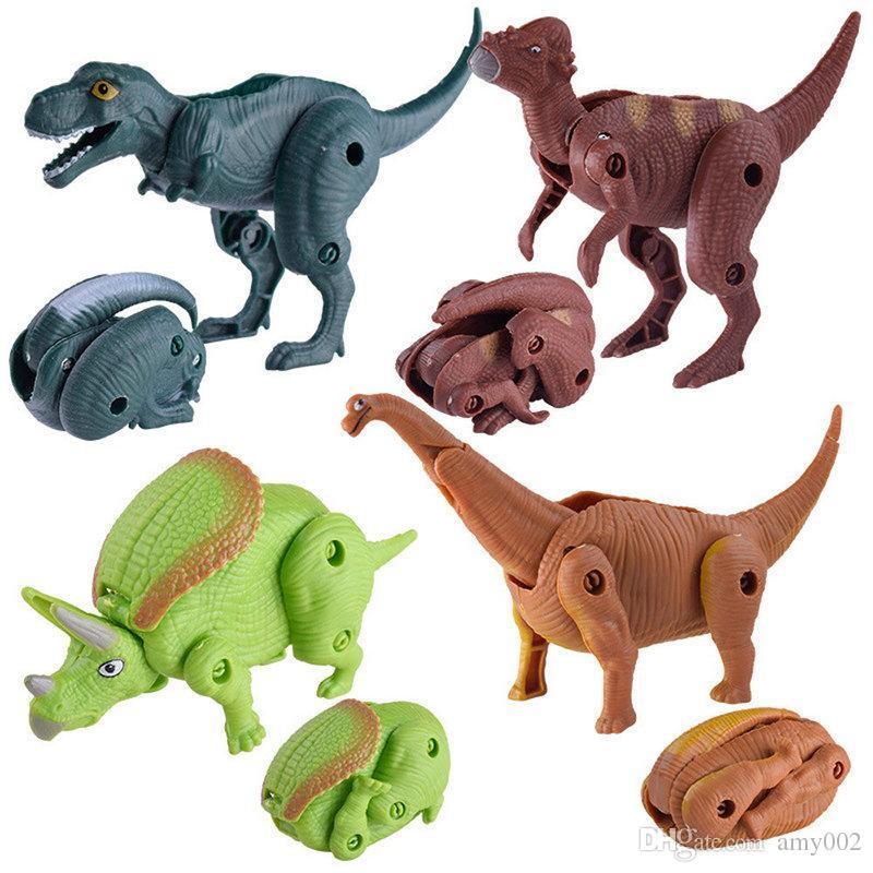 DHL 24pcs Easter Surprise Eggs Dinosaur Toy Model Deformed Dinosaurs Egg Collection Toys For Children gift kids toy