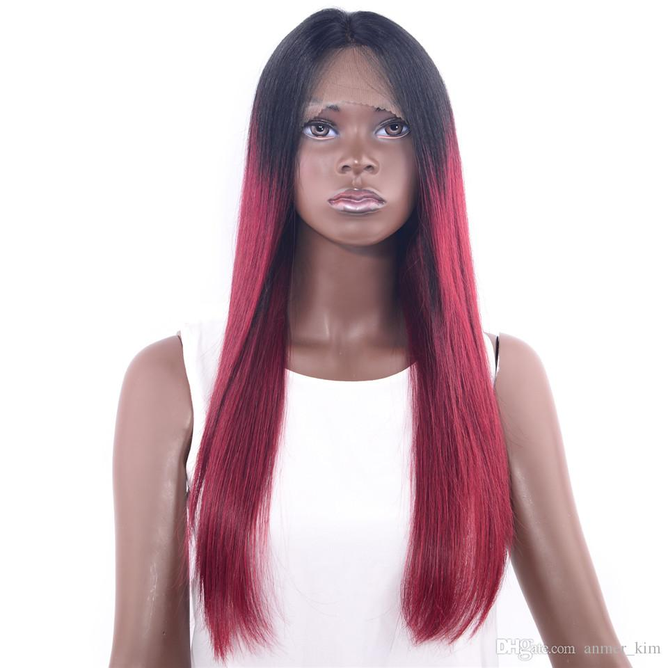 Cheap style 100% unprocessed raw virgin rey human hair long ombre color silky straight silk top full lace cap wig for women