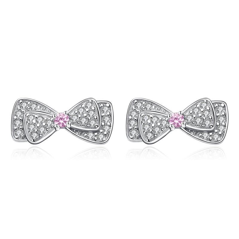 Nueva Llegada 925 Sterling Silver Shimming Pink CZ Bowknot Stud Pendientes para Las Mujeres Brincos Joyería Fina Bijoux SCE092