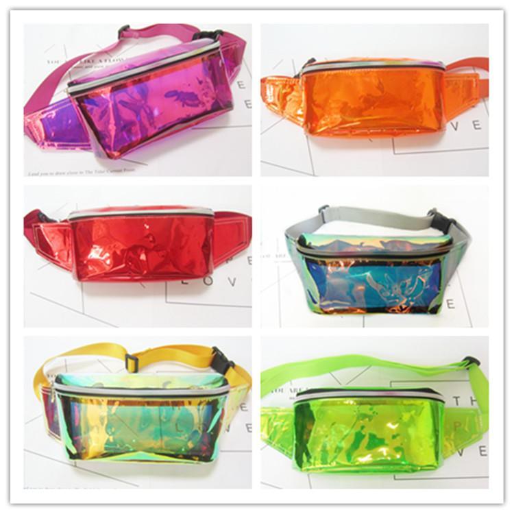 Kadınlar PVC Lazer Bel Çantası Su Geçirmez Temizle Fanny Paketi Hologram plaj kemer Çantaları Unisex Crossbody Omuz Çantaları cüzdan cep ...