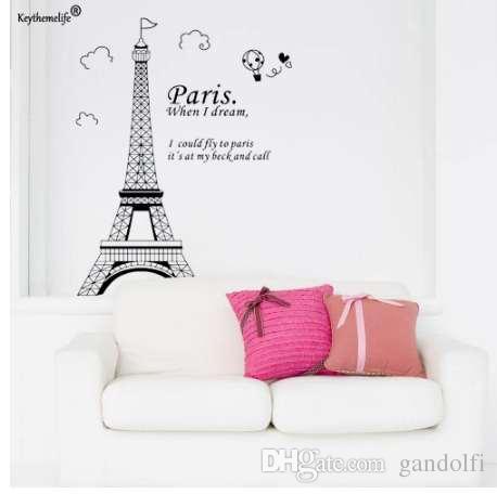 로맨틱 파리 에펠 탑 프랑스 DIY 벽 스티커의 아름다운 풍경 바탕 화면 미술 장식 벽화 방울 데 칼 YYJ0