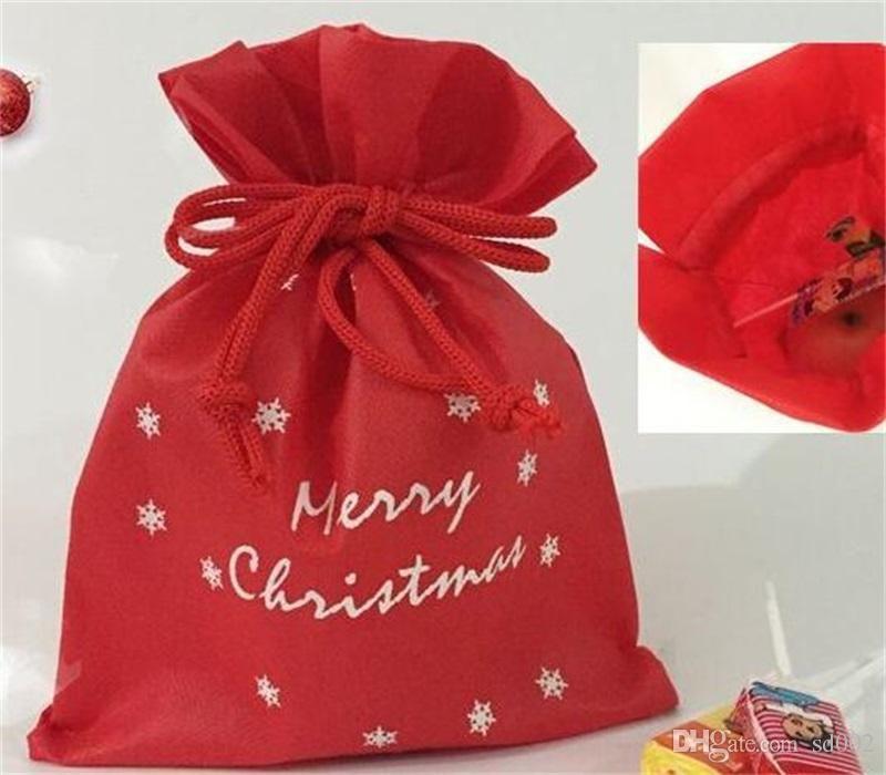 Marry Christmas Gift Pouch Bag storage di nozze Dolci coulisse Borse corda Tessuto non tessuto personalizzato Sacchi vendita calda 1 8bm ii