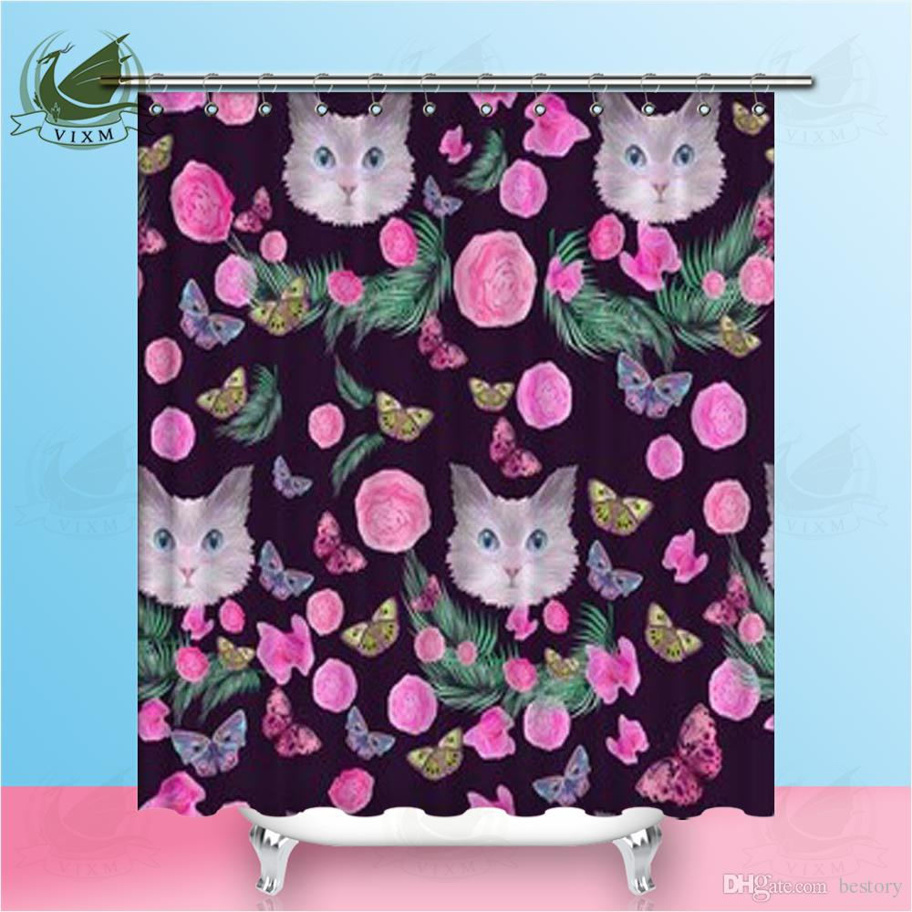 Vixm Bright Cat Head Pink Rose Brown Leaf Butterfly Shower Curtains Polyester Fabric Curtains For Home Decor