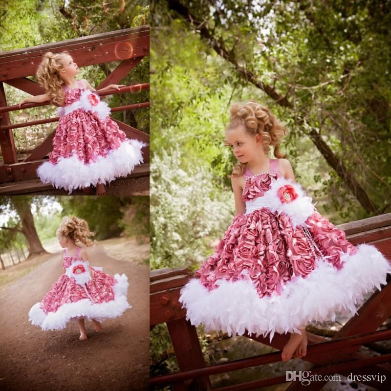 Puffy vestidos de niña de las flores para la boda Lindo cuello de espagueti con cuentas Vestido corto del desfile de la muchacha Pluma Flor floral 3D Fiesta de cumpleaños Use