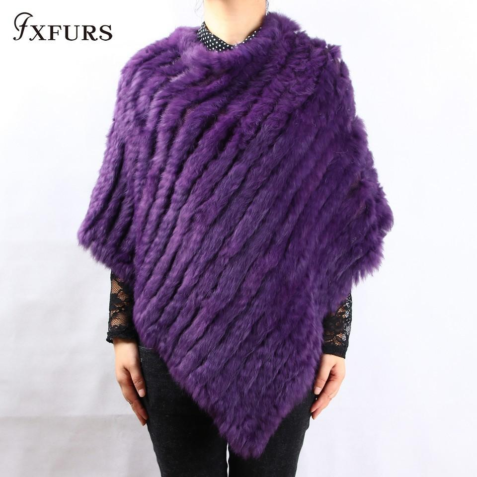 FXFURS 2018 spring autumn Genuine Real Knitted Rabbit Fur Poncho Wrap scarves women natural rabbit fur Shawl triangle Cape Y18102010