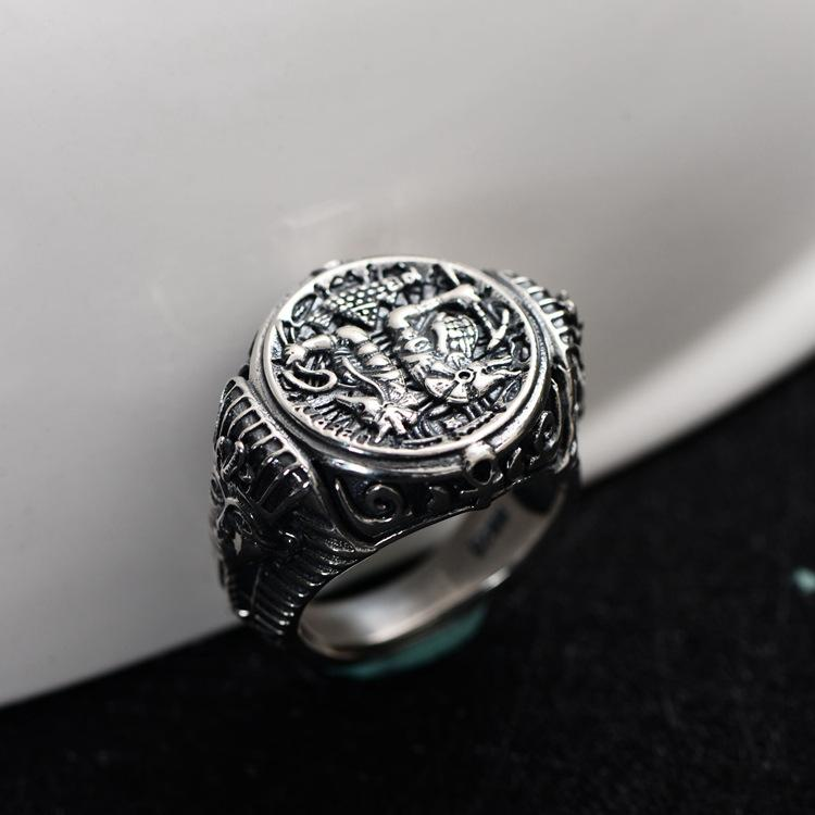 925 стерлингового серебра ретро Египет Мрачный Жнец Анубис Странник Фараон открытое регулируемое кольцо мужчины тайский серебро старинные подарок CH060003 Y1892705