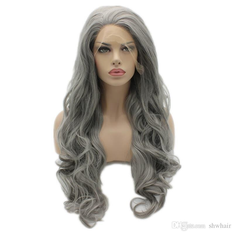 Gris synthétique longue perruque cheveux résistant à la chaleur fibre haute température Glueless longue onduleux gris synthétique cheveux avant de dentelle perruque pour les femmes noires
