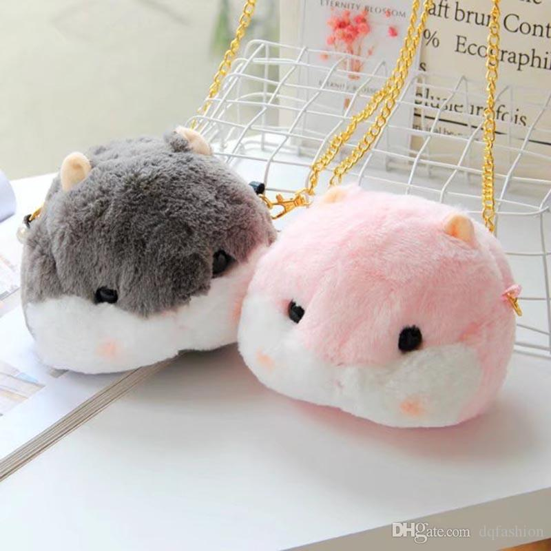 Cute Fluffy Hamster Messenger Bag Pink Gray Girl Soft Sister Cartoon Furry Shoulder Bag Free Shipping