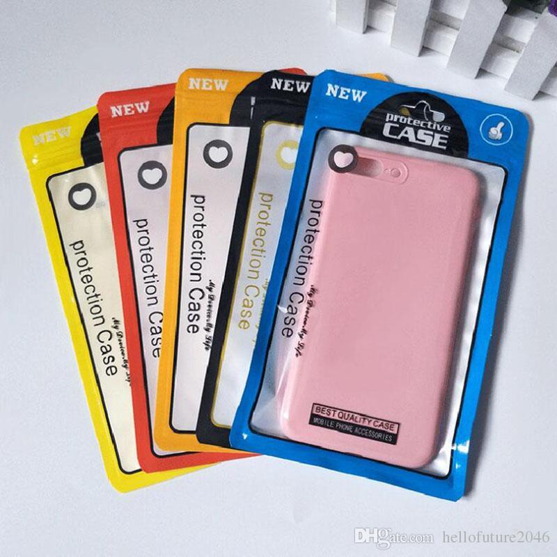Promotion 3000pcs 12 * 21cm 5 Farben Kunststoff-Reißverschluss-Handy-Fall-Beutel Handy-Shell-Verpackung Reißverschluss-Satz für iPhone XS-Abdeckung