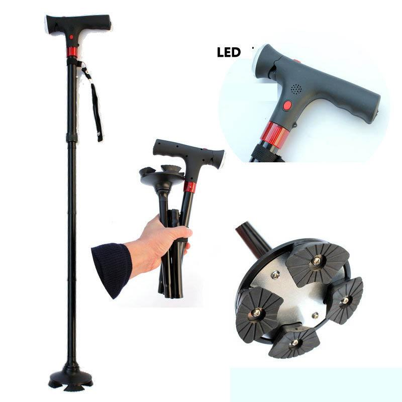 NEW 2018 Outdoor Smart cane four foot non-slip aluminum alloy with lamp crutches elderly stick old Men walking stick