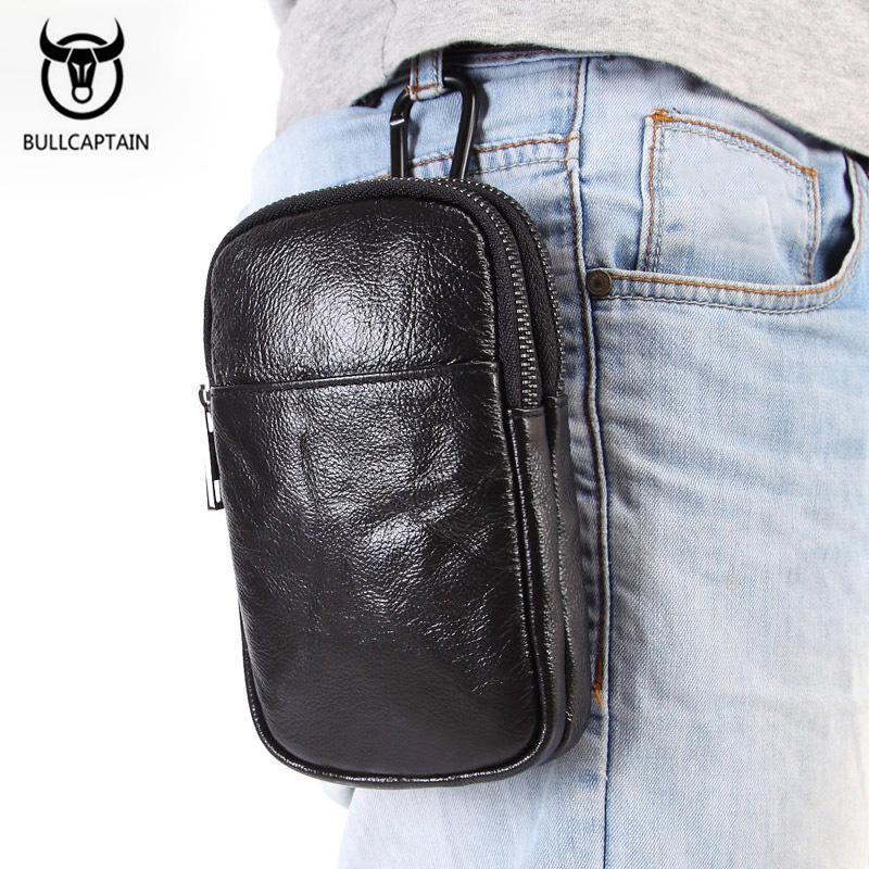 Men Fashion Waist Packs Design Genuine Leather Phone Waist Pouch Fanny Pack for Male Hip Bum Belt Bag Lanyard Cell Purses