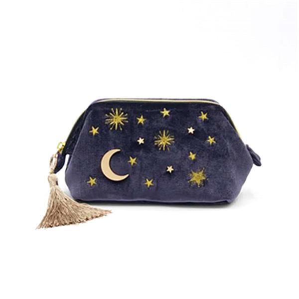 حقيبة ماكياج المخملية حالات التجميل الصغيرة شرابة مطرزة الحقيبة حقيبة التخزين المكياج سفر منظم مستحضرات التجميل للنساء