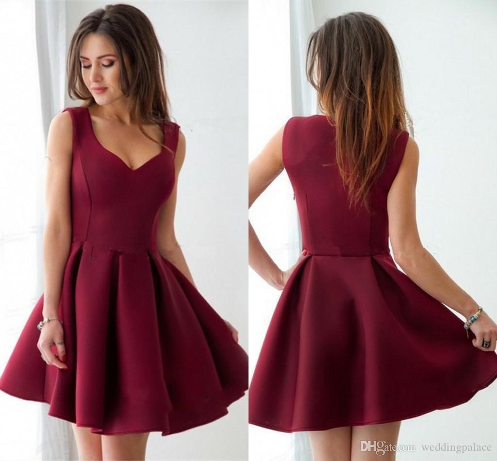 großhandel günstige burgundy strings a linie homecoming kleider sleeveless  kurze süße design ballkleid kleider für besondere anlässe kurze mini